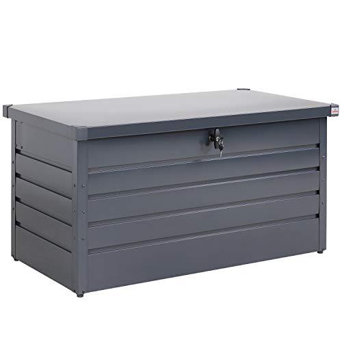 Gardebruk Metall Auflagenbox 360L abschließbar Gasdruckfeder Kissenbox Gartentruhe Gerätebox Garten Aufbewahrungsbox