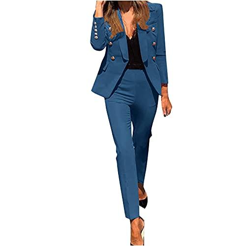 2 Pezzi da Tuta da Donna Tinta Unita Completo da Donne a Maniche Lunghe con Pantaloni Ufficio e Lavoro, Elegante Tailleur con Pantaloni, Blazer Top Giacche da Abito+Pantaloni da Completo Set