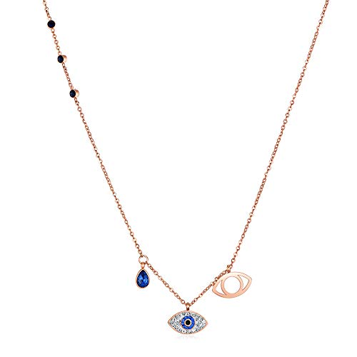 Duo Evil Eye Pendant Stone Necklaces For Women, Symbolic Evil Eye Pendant, Blue, and Mixed Metal Finish.