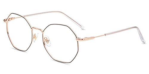 Firmoo Polygon Blaulichtfilter Brille ohne Sehstärke für Damen Herren, Blaulicht Computer Schutzbrille Anti Augenmüdigkeit Kopfschmerzen, Blendfrei für PC Handy Fernseher, Brillenfassung Schwarz-Gold