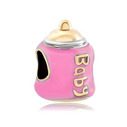 Auténtico Pandora 925 Colgante De Plata Esterlina Diy Joyas Para Niños Populares Cuentas Botella De Bebé Rosa