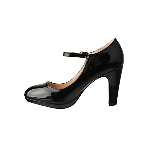 Damen Pumps | Bequeme High Heels Lack-Optik | Vintage-Style | Abendschuh - 2