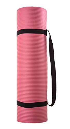 silly.con Fit & Fun 14013 - Esterilla de yoga y fitness con correa, de caucho NBR, aprox. 173 x 61 x 1 cm, color rosa