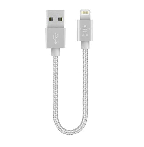 Belkin Metallic Lightning to USB Cable - MFi-Certified iPhone Charging Cable for iPhone Xs, XS Max, XR, X, 8/8 Plus and More (6-inches), Silver