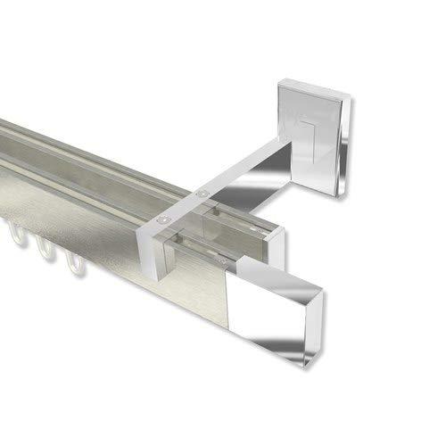 INTERDECO Innenlauf Gardinenstangen eckig Edelstahl Optik/Chrom 2-läufig Smartline Lox, 160 cm