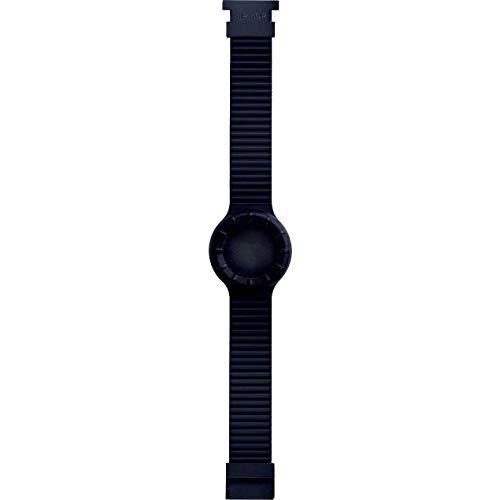 Hip Hop Cinturino Intercambiabile per Orologio Unisex per Cassa da 32 mm Colore Completamente Nero in Silicone Morbido Resistente all'Acqua HBU0012