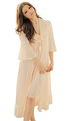 Camellia12 Fantastic Satin Robe Set Lace Chemise Full Slips with Victorian Robe (peachpuff)