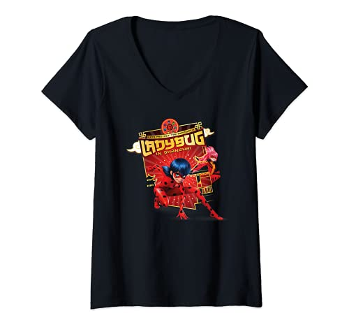 Mujer Miraculous Shanghai Ladybug and Ladydragon Camiseta Cuello V