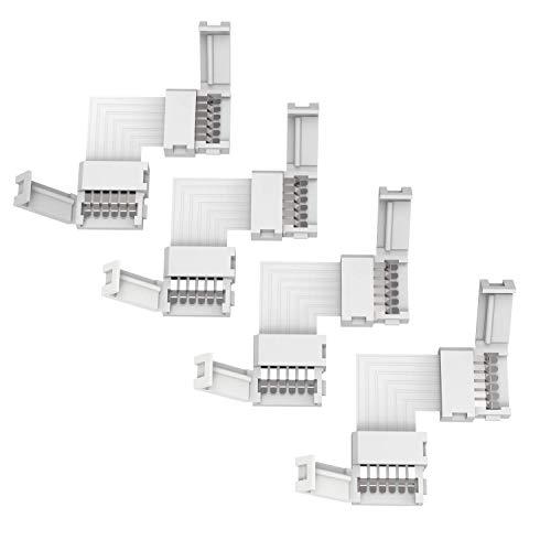 Conector de esquina LED trooplex de 6 polos, 4 unidades, ángulo de 90°, conector de 6 pines, forma L, sin soldar, 4 unidades, RGBWW/CCT, blanco cálido