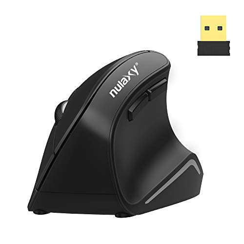Nulaxy Vertical Mouse, 2.4G Wireless Mouse with 3 Adjustable DPI(800 / 1200 /1600), Ergonomic Optical Mouse with 6 Buttons for Computer, Laptop, PC, iPad, Desktop, MacBook Black