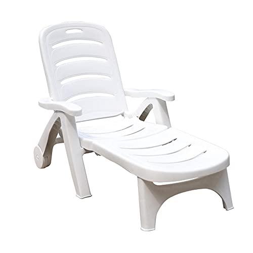 Sillas de jardín de plástico Blanco Tumbonas de Sol plásticas cómodas sillas de Playa Ajustables de Baja Plegable Plegable Plegable sillas Plegables