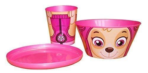 Ensemble de vaisselle 3 pièces empilables pour enfants avec assiette, gobelet, bol et motif Pat' Patrouille