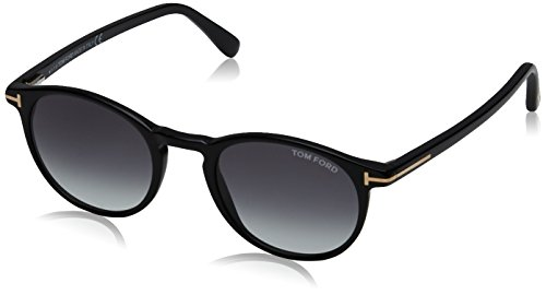Tom Ford FT0539 Sunglass Pant Montature, Black Lucido with Fumo Grad, 48 Unisex-Adulto