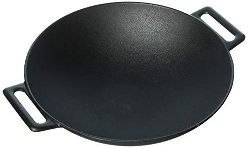 Jim Beam 12'' Pre Seasoned Heavy Duty Construction Cast Iron Grilling Wok, Large, Black