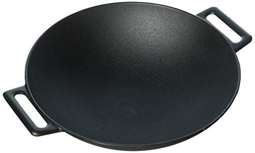 Jim Beam 12'' Pre Seasoned Heavy Duty Construction Cast Iron Grilling Wok, Large, Black