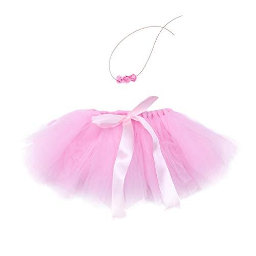 TENDYCOCO 1 Satz Baby Tutu Kleid Fotografie Kostüm Tüllrock Prinzessin mit Schleife-Knoten für Baby-Pink