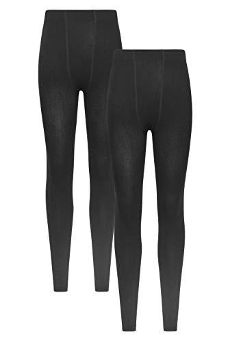 Mountain Warehouse Aufgeraute Isotherm-Leggings für Damen - Leichte Damen-Winterhose, atmungsaktiv, Thermo-Unterwäsche, warm - Ideal für Skifahren und Snowboarden Schwarz Medium