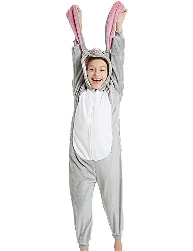 Animal Easter Onesie Kids Unisex Onepiece Pajamas Halloween Cosplay Party Costume Grey Rabbit Bunny L