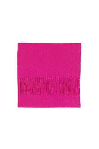 CASH-MERE.CH CASH-MERE.CH 100% Kaschmir Paschmina Schal Uni mit Fransen für Damen und Herren (Rosa/Lipstick Rot, 30cm x 164cm + 8cm x 2 Fransen)