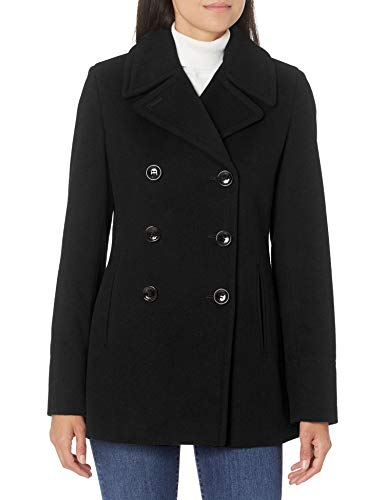 Calvin Klein Damen Double Breasted Peacoat Caban-Jacke, schwarz, 38