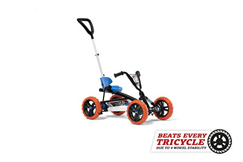BERG Buzzy Nitro 2-in-1 Pedal Go Kart With Parental Push Bar Blue/Orange Ages 2-5 Years