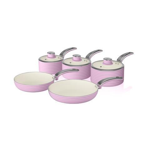 Swan Juego de 5 sartenes Retro, Aluminio, Rosa, 31.50 x 48.00 x...