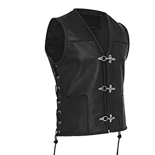 Shujin Herren Steampunk Gothic Bikerweste Mittelalter Weste Vintage Frack Ärmellos Vest Retro Schmaler Passform Victorian Uniform Kostüm Weste Vampir Cosplay Verkleidung