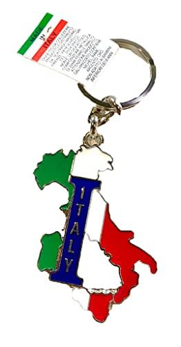 FIRENZE Llavero de cadena con símbolo de Italia, recuerdo y objeto de colección, unisex. Italia Vintage Tricolor Talla única