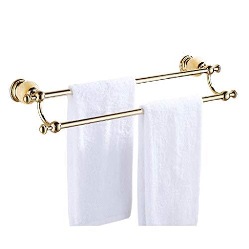 YULAN Almacenamiento Toallero de Oro Colgante Bipolar Perforación Libre Cuarto de baño Inodoro Balcón 61 * 10.5 * 16 cm