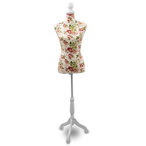 BITUXX Damenbüste Schneiderpuppe Schaufensterpuppe Torso Angezogen Mannequin Büste (Weiß - Rose)