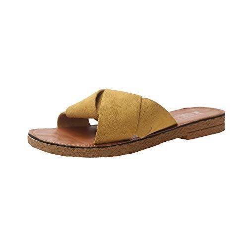 LANKOULI Las Zapatillas de Mujer Usan Sandalias de Verano de tendón de Carne de Res Salvaje, Zapatos de Playa Antideslizantes de Arrastre de Palabras-Amarillo_37