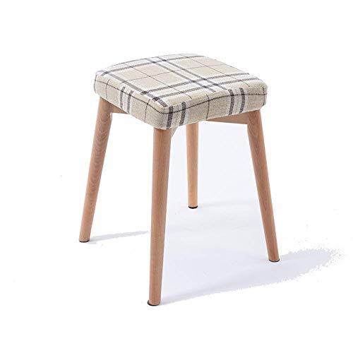 Voetkruk, werkkruk, staande kruk, kleine, creatieve kleine kruk, massief hout, zeer elastische spons, kledingkast van massief hout, modieuze bank (kleur: stomen – dikke hennep).