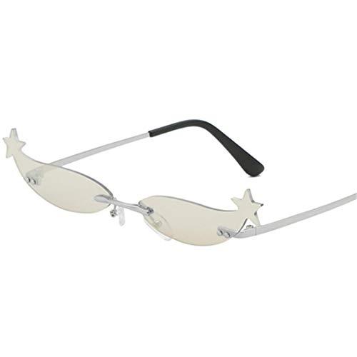 Gafas de Sol Gafas De Sol Pequeñas Sin Montura para Mujer, Gafas De Sol Vintage con Forma De Ojo De Gato, Gafas De Sol Retro para Mujer, Lentes De ESP