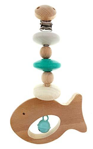 Hess Holzspielzeug 12818 - Wagenhänger Fisch, Mini Trapez aus Holz, für Babys ab 0 Monaten, Mehrfarbig, ca. 20 x 7 x 3,5 cm