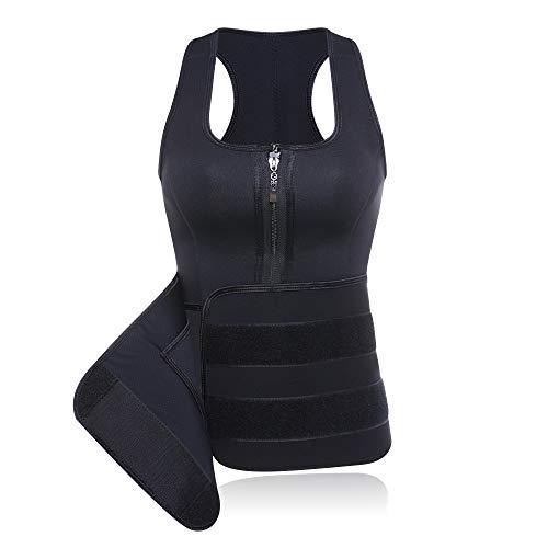Slimerence Damen Latex Training Sport Korsett Cincher Shaper Body Tailenmieder, Neopren Sauna Trägershirt Für die Bauchfettverbrennung, für Körperformung, Bewegung und Gewichtsverlust
