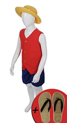 One Piece Kostüm - Ruffy mit Hut und Sandalen Verkleidung für Kinder 8-10 Jahre