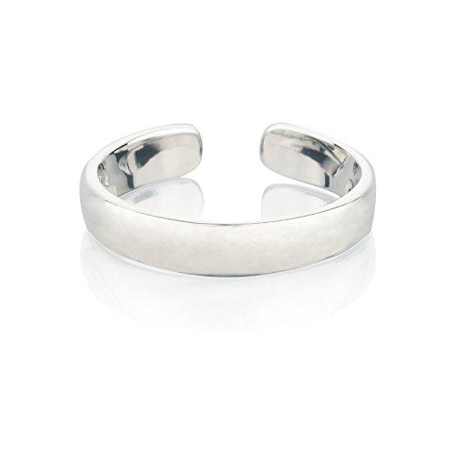 7K Zehenring Silber 925 Damen, offener Midi Ring Silber 925, Ring Silber als Fußschmuck oder Fingerring für Herren und Damen, größenverstellbar, Breite 3mm, Modell 8