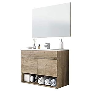 Miroytengo Mueble de baño suspendido con Espejo Incluido de diseño Moderno con Dos Puertas y Hueco Abierto 80x45x64 cm…