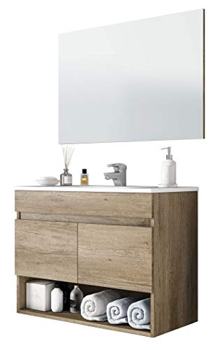 Miroytengo Mueble Lavabo suspendido Que Incluye Espejo Mueble baño de Dos Puertas y Hueco Abierto 80x45x64 cm con LAVAMANOS PMMA