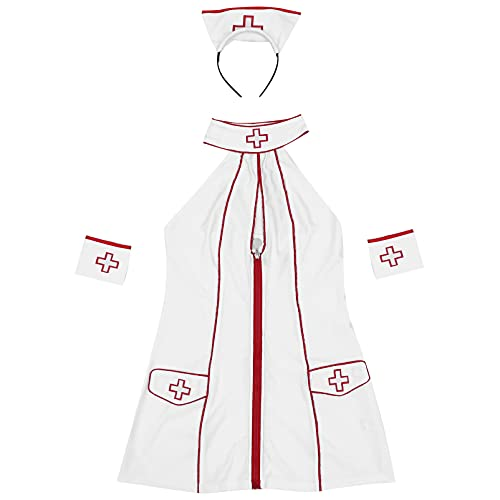 HEALLILY 1 Set Kvinnor Sexiga Sjuksköterska Underkläder Stygg Näktergal Underkläder Med Huvudbande