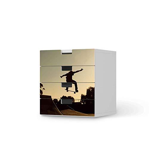 creatisto Möbel Klebefolie für Kinder - passend für IKEA Stuva Kommode - 4 Schubladen I Tolle Möbelfolie für Kinder-Möbel Deko I Design: Skater