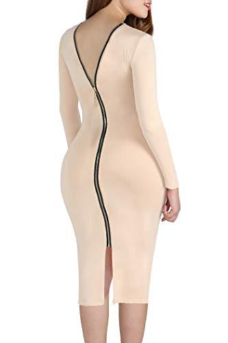 YMING Women Plus Size Bodycon Dress Zipper Back Club Dress Sexy Midi Dress Plus Size
