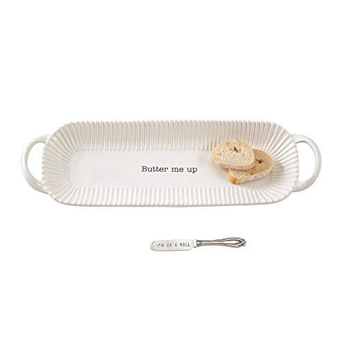 Mud Pie Circa Bread Dish Set, White
