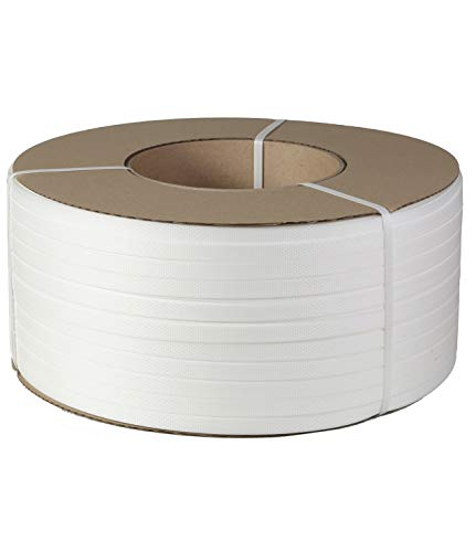 1/2' Strapping 9900 Ft Machine Grade 8x8 Core Polypropylene Heavy Duty Grade Strapping, 1 Roll, White