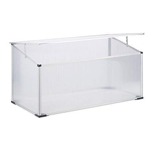 Relaxdays Frühbeet Alu, Stecksystem, lichtdurchlässig, UV-Schutz, Mini Gewächshaus, HxBxT: 100 x 50 x 50 cm, transparent