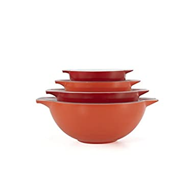 Creo SmartGlass Cookware, 4-Cookware, Piece Nesting Bowl Set, Oven Safe and for Serving, Shanghai Red