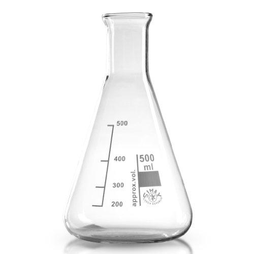 Erlenmeyerkolben 500 ml aus hochwertigem Laborglas (Borosilikat 3.3) / transparent / graduiert / hitzefest / Laborqualität / Simax Erlenmeyer Kolben / Borosilikatglas / Erlenmeierkolben / Erlenmeier Kolben / Erlenmayerkolben / Erlenmayer Kolben