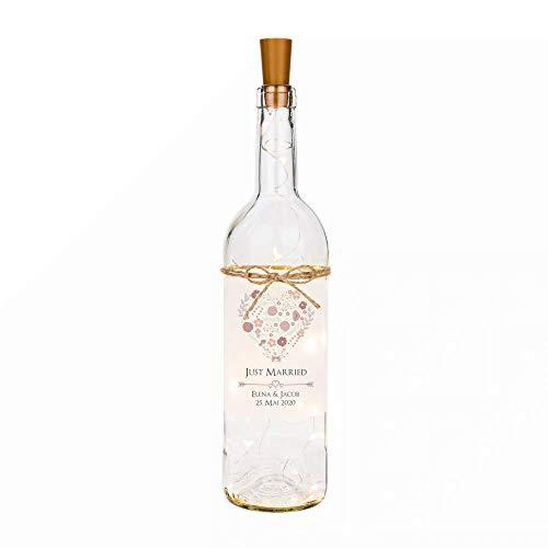 """Flaschenlicht personalisiert mit Namen des Brautpaares und Hochzeitsdatum I Hochzeits-Motiv """"Elena & Jacob"""" I liebevolle Dekoflasche mit LED Beleuchtung als Hochzeitsgeschenk"""