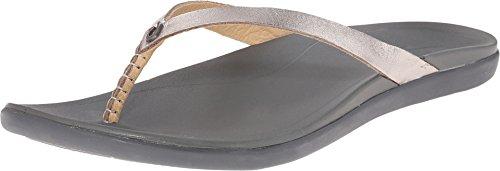OLUKAI Ho'Opio Leather Sandal - Women's Silver/Charcoal 5