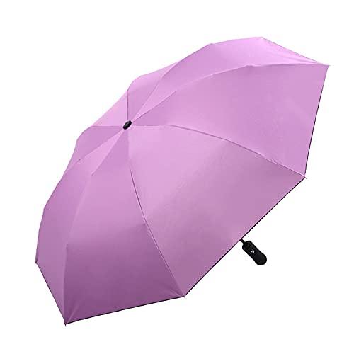 YQDHHD Paraguas de Protección Ultravioleta, Paraguas de Viaje Plegable Portátil Paraguas Ligero a Prueba de Viento Sombrilla Automática de 8 Huesos Paraguas de Doble Uso Clear Rain para Mujer,Púrpura